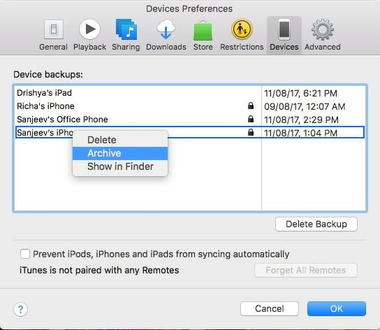 Archive iPhone Backup