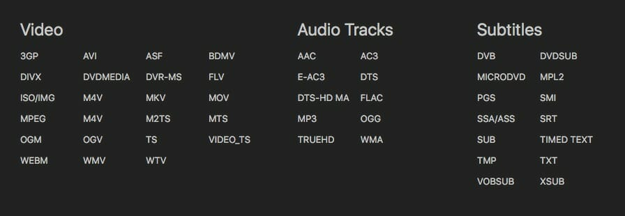 Infuse Audio Video Format Support