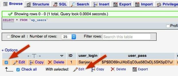 WordPress User Table Edit Screen