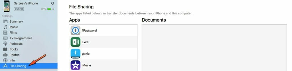 iTunes 12.7 File Sharing Screen
