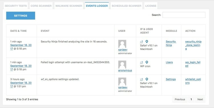 Security Ninja Event Logger to Secure Your WordPress
